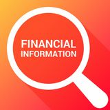 Finance Concept: Magnifying Optical Glass With Words Financial Information. Vector illustration Royalty Free Stock Image