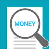 Finance Concept: Magnifying Optical Glass With Words Money. Vector illustration Royalty Free Stock Images
