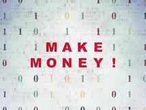 Finance concept: Make Money! on Digital Data Paper background. Finance concept: Painted red text Make Money! on Digital Data Paper background with Binary Code Royalty Free Stock Image