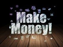 Finance concept: Make Money! in grunge dark room. Finance concept: Glowing text Make Money!,  Hand Drawn Business Icons in grunge dark room with Wooden Floor Stock Photos