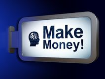 Finance concept: Make Money! and Head With Finance Symbol on billboard background. Finance concept: Make Money! and Head With Finance Symbol on advertising Royalty Free Stock Image