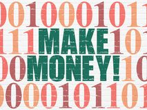 Finance concept: Make Money! on wall background. Finance concept: Painted green text Make Money! on White Brick wall background with Binary Code Stock Photography