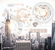 Finance concept. Modern city with abstract business chart hologram. Finance concept. 3D Rendering Stock Images