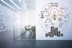 Finance concept. Modern conference room interior with business sketch on wall. Finance concept. 3D Rendering Stock Photo