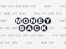 Finance concept: Money Back on wall background. Finance concept: Painted black text Money Back on White Brick wall background with Currency Royalty Free Stock Photo