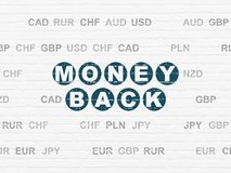 Finance concept: Money Back on wall background. Finance concept: Painted blue text Money Back on White Brick wall background with Currency Royalty Free Stock Photography