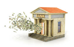 Finance concept. Money flying from door in the bank building. De Stock Photos