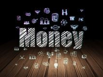 Finance concept: Money in grunge dark room. Finance concept: Glowing text Money,  Hand Drawn Business Icons in grunge dark room with Wooden Floor, black Royalty Free Stock Photo