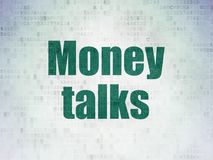 Finance concept: Money Talks on Digital Data Paper background Royalty Free Stock Images