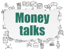 Finance concept: Money Talks on Torn Paper background. Finance concept: Painted green text Money Talks on Torn Paper background with  Hand Drawn Business Icons Royalty Free Stock Photography