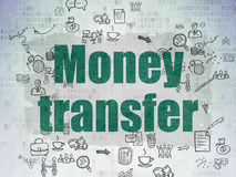 Finance concept: Money Transfer on digital. Finance concept: Painted green text Money Transfer on Digital Paper background with Scheme Of Hand Drawn Business Stock Image