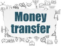 Finance concept: Money Transfer on Torn Paper background. Finance concept: Painted blue text Money Transfer on Torn Paper background with  Hand Drawn Business Stock Photo
