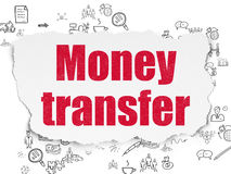 Finance concept: Money Transfer on Torn Paper Stock Photography