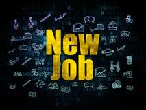 Finance concept: New Job on Digital background. Finance concept: Pixelated yellow text New Job on Digital background with  Hand Drawn Business Icons, 3d render Stock Images