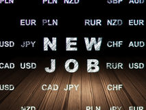Finance concept: New Job in grunge dark room. Finance concept: Glowing New Job icon in grunge dark room with Wooden Floor, black background with Currency, 3d Stock Photos