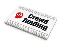 Finance concept: newspaper with Crowd Funding and. Finance concept: newspaper headline Crowd Funding and Head With Gears icon on White background, 3d render royalty free stock photos