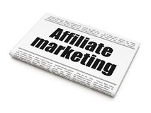 Finance concept: newspaper headline Affiliate Marketing. On White background, 3D rendering Royalty Free Stock Photos