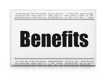 Finance concept: newspaper headline Benefits. On White background, 3D rendering Royalty Free Stock Photos