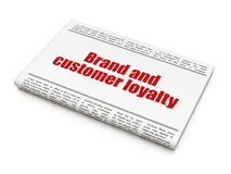 Finance concept: newspaper headline Brand and Customer loyalty. On White background, 3D rendering Stock Photo