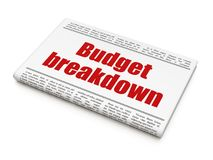 Finance concept: newspaper headline Budget Breakdown. On White background, 3D rendering Stock Photos