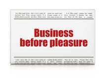 Finance concept: newspaper headline Business Before pleasure. On White background, 3D rendering Royalty Free Stock Photo