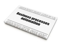 Finance concept: newspaper headline Business Processes Automation. On White background, 3D rendering Royalty Free Stock Photos
