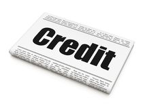 Finance concept: newspaper headline Credit. On White background, 3D rendering Royalty Free Stock Photography