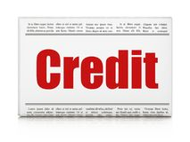 Finance concept: newspaper headline Credit. On White background, 3D rendering Royalty Free Stock Images