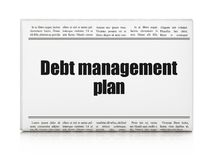 Finance concept: newspaper headline Debt Management Plan. On White background, 3D rendering Royalty Free Stock Photos