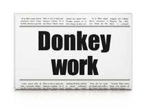 Finance concept: newspaper headline Donkey Work. On White background, 3D rendering Royalty Free Stock Photo