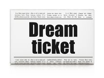 Finance concept: newspaper headline Dream Ticket. On White background, 3D rendering Royalty Free Stock Photos