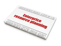 Finance concept: newspaper headline Enterprice Resource Planning. On White background, 3D rendering Stock Photo