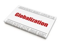 Finance concept: newspaper headline Globalization. On White background, 3D rendering Royalty Free Stock Image