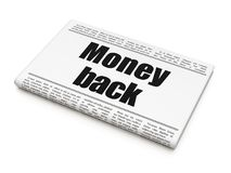 Finance concept: newspaper headline Money Back. On White background, 3D rendering Royalty Free Stock Photography