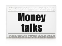 Finance concept: newspaper headline Money Talks. On White background, 3D rendering Royalty Free Stock Photo