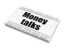 Finance concept: newspaper headline Money Talks. On White background, 3D rendering Royalty Free Stock Photography
