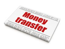 Finance concept: newspaper headline Money Transfer. On White background, 3D rendering Royalty Free Stock Photos