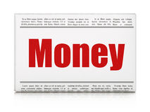 Finance concept: newspaper headline Money. On White background, 3d render Royalty Free Stock Photo