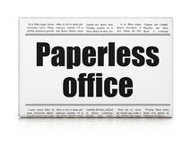 Finance concept: newspaper headline Paperless Office. On White background, 3D rendering Stock Photos