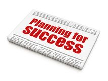 Finance concept: newspaper headline Planning for Success. On White background, 3D rendering Stock Image