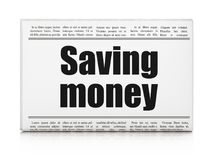 Finance concept: newspaper headline Saving Money. On White background, 3D rendering Royalty Free Stock Photo