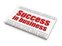 Finance concept: newspaper headline Success In business. On White background, 3D rendering Royalty Free Stock Image