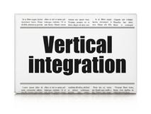 Finance concept: newspaper headline Vertical Integration. On White background, 3D rendering Stock Photography
