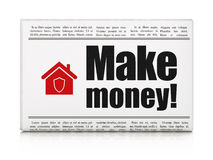 Finance concept: newspaper with Make Money! and Home Royalty Free Stock Photos