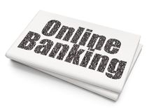 Finance concept: Online Banking on Blank Newspaper background. Finance concept: Pixelated black text Online Banking on Blank Newspaper background, 3D rendering Stock Image