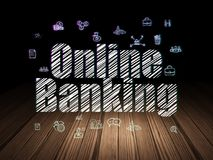 Finance concept: Online Banking in grunge dark room. Finance concept: Glowing text Online Banking,  Hand Drawn Business Icons in grunge dark room with Wooden Royalty Free Stock Images