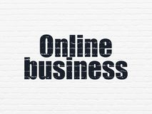Finance concept: Online Business on wall background. Finance concept: Painted black text Online Business on White Brick wall background Stock Photos