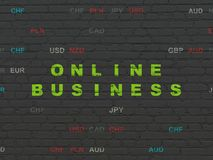 Finance concept: Online Business on wall background. Finance concept: Painted green text Online Business on Black Brick wall background with Currency Stock Image
