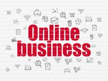 Finance concept: Online Business on wall background. Finance concept: Painted red text Online Business on White Brick wall background with  Hand Drawn Business Stock Images