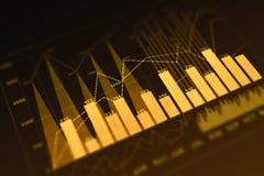 Finance concept. Orange digital business chart background. Finance concept. 3D Rendering Stock Photos